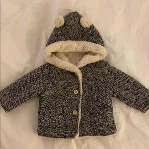 Fleece lined tweed knit jacket